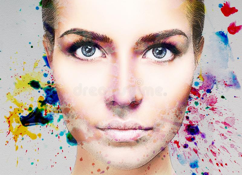 Portrait of young woman and colorful paint blots. Over gray background stock photos