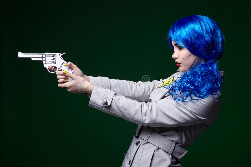 Portrait of young woman in comic pop art make-up style. Female stock photos