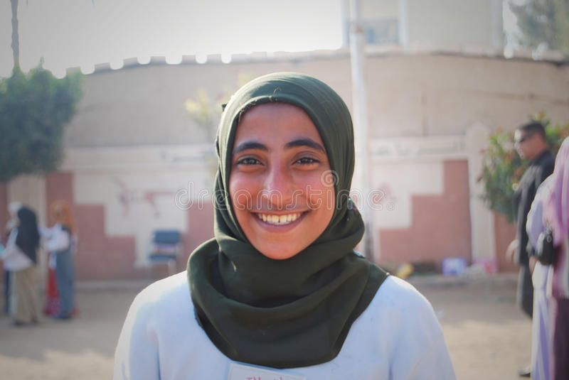 Portrait of young woman decent smile in Egypt royalty free stock photo