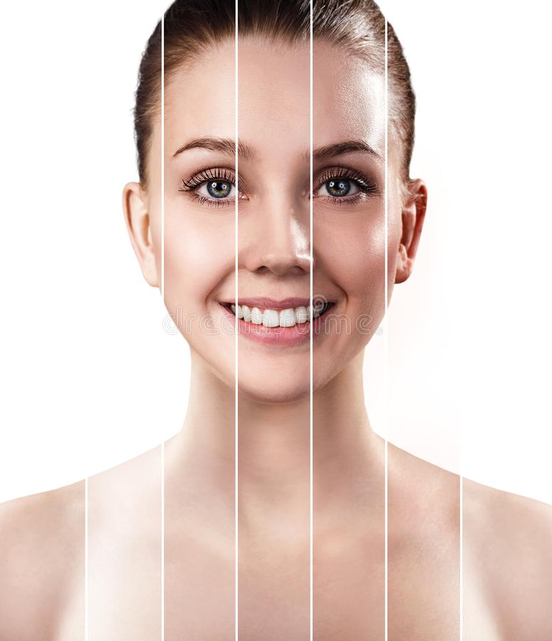 Portrait of young woman with different level of suntan. stock photo