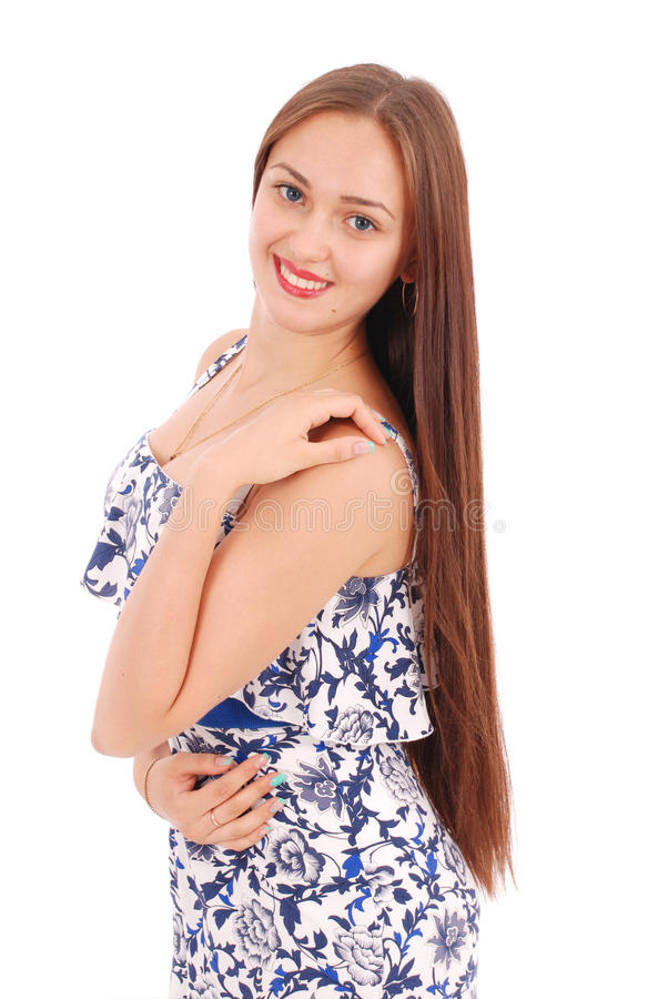 Portrait of young woman in dress. stock photo