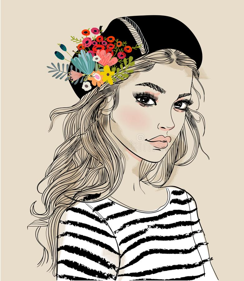 Portrait of a young woman with flowers. Portrait of a young attractive woman with flowers royalty free illustration
