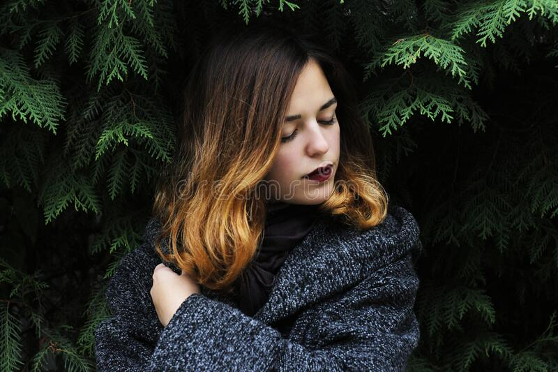 Portrait of Young Woman in Forest during Winter royalty free stock images