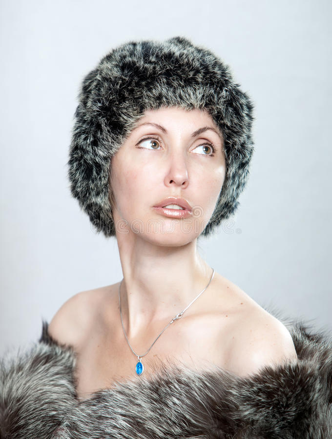 Download Portrait Of The Young Woman In A Fur Coat Stock Image - Image: 26790799