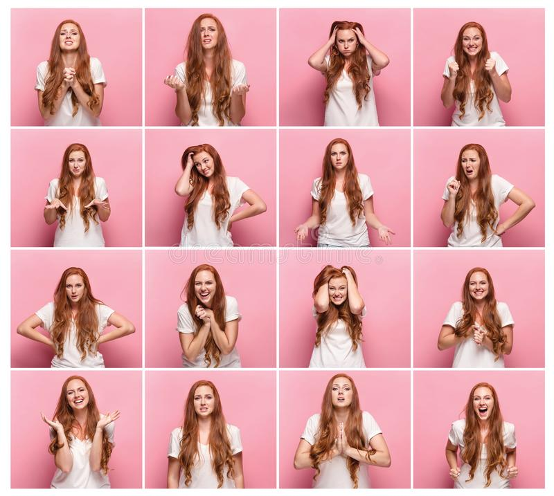 Portrait of young woman with happy and unhappy facial expressions stock image