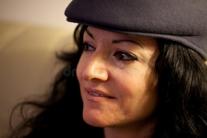 Portrait Of Young Woman With Hat Royalty Free Stock Images
