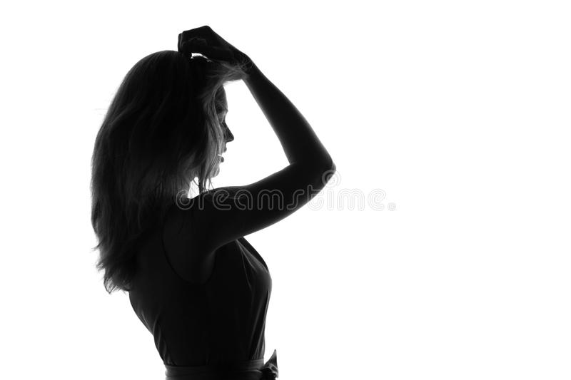 Portrait of a young woman on an isolated background royalty free stock photos