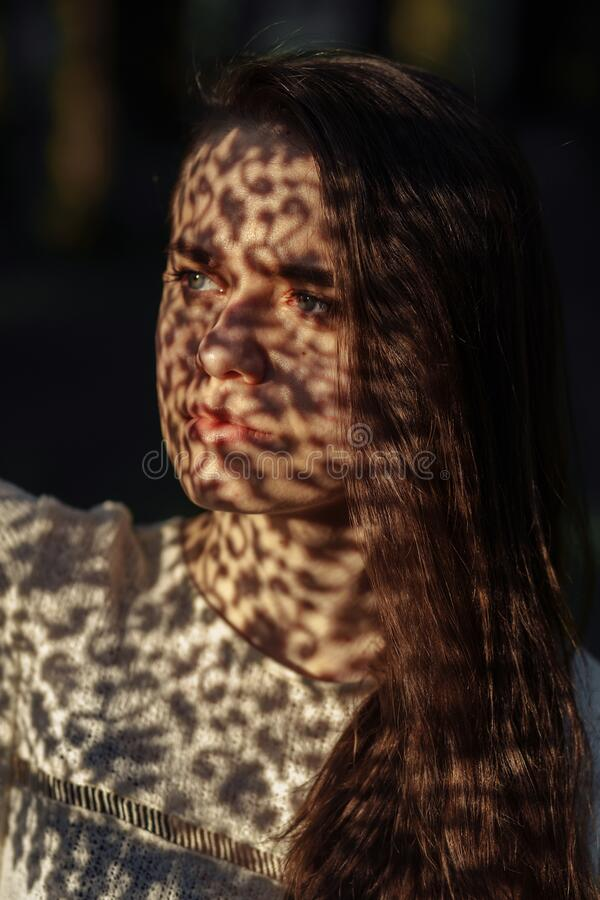 Portrait of a young woman with lace shadows. Portrait of a young woman in the sunlight with lace shadows on the face stock photography