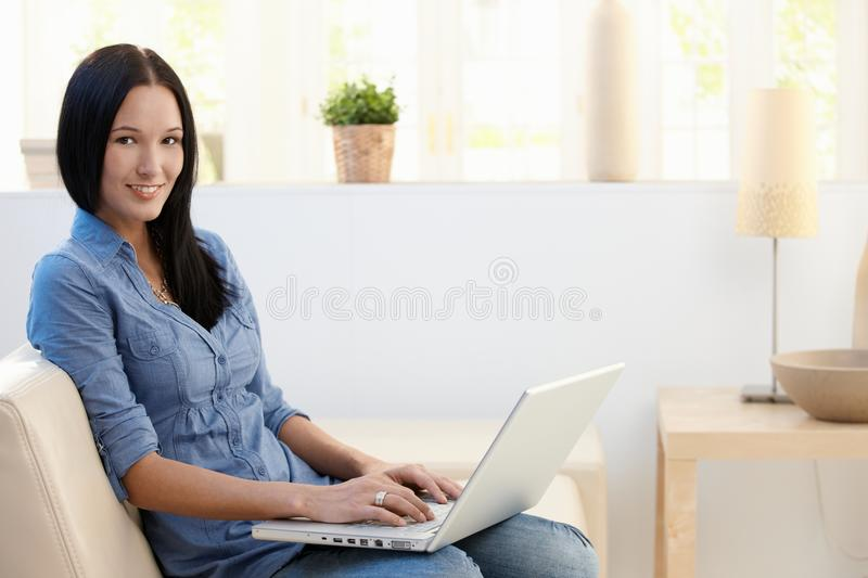 Download Portrait Of Young Woman With Laptop Stock Image - Image: 21955585