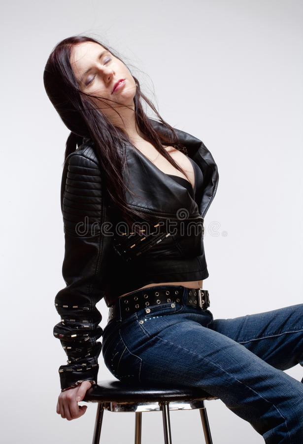 Portrait Of A Young Woman In Leather Jacket Stock Photo