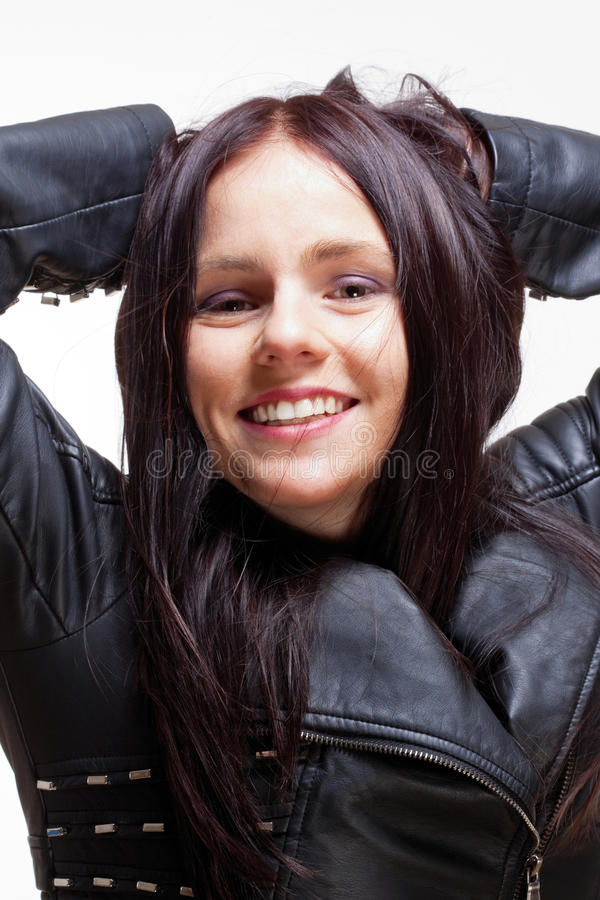 Download Portrait Of A Young Woman In Leather Jacket Stock Photo - Image of beautiful, brunette: 38268558