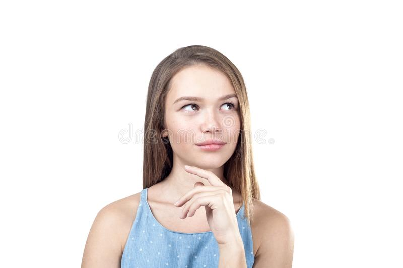 Portrait of a young pensive woman stock photography