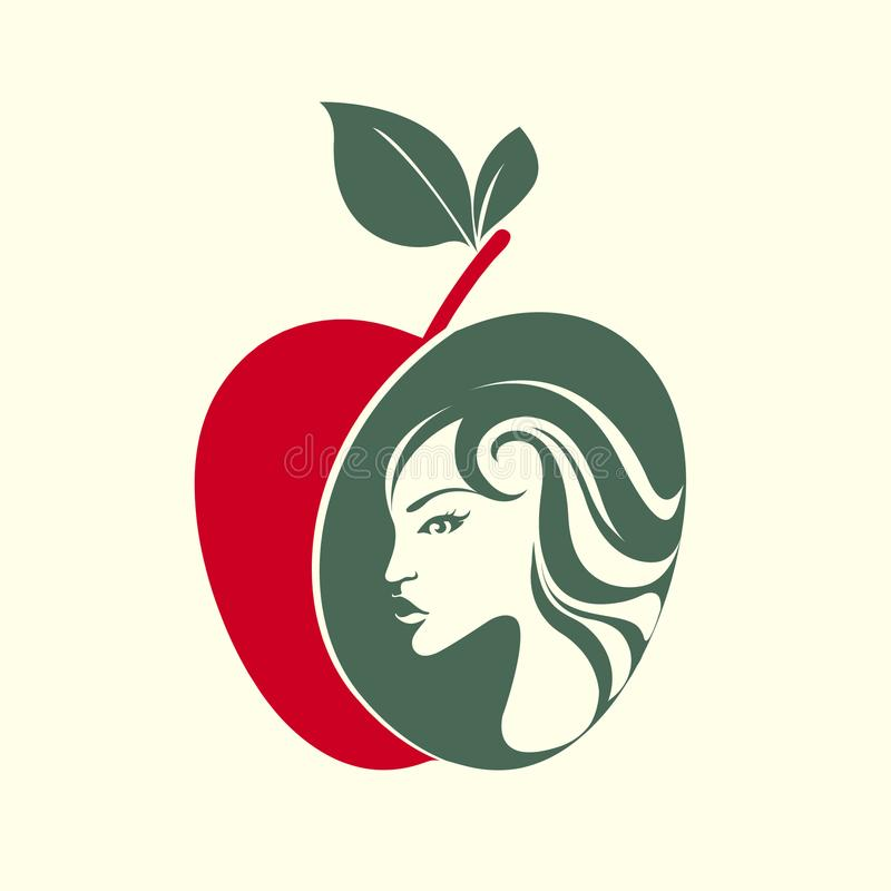 Beautiful woman face in an apple shape. Eve portrait. royalty free illustration