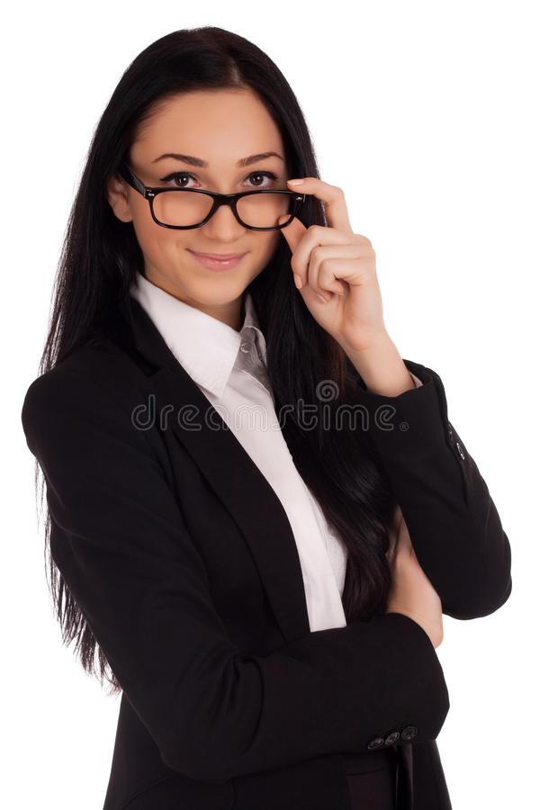 Portrait Of Young Woman Looking Over Glasses Stock Image