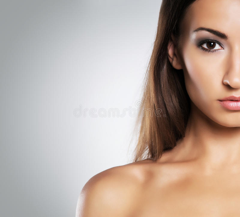 Portrait of a young woman in makeup stock photography