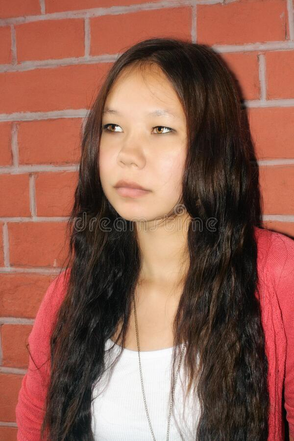 Portrait of a young woman. Of Mongoloid race royalty free stock photography