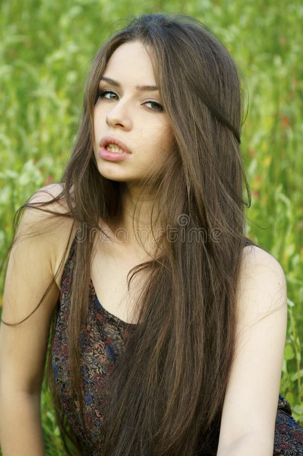 Portrait Of Young Woman At Nature Royalty Free Stock Photos