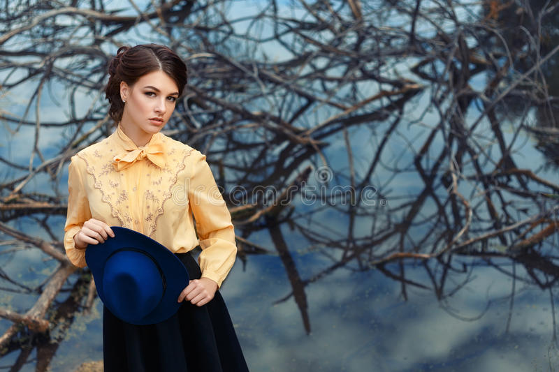 Portrait of young woman outdoor stock photography