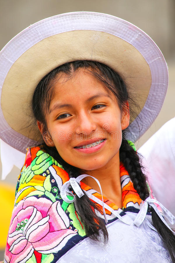 Portrait of a young woman performing during Festival of the Virgin de la Candelaria in Lima, Peru. royalty free stock photography
