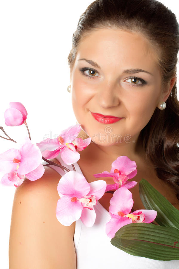 Download Portrait Of Young Woman And Pink Orhid On White Stock Photo - Image: 93012512
