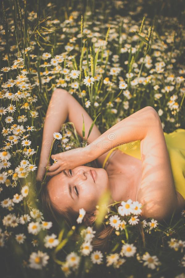 Portrait of young  woman with radiant clean skin lying down amid flowers on a lovely meadow royalty free stock photos