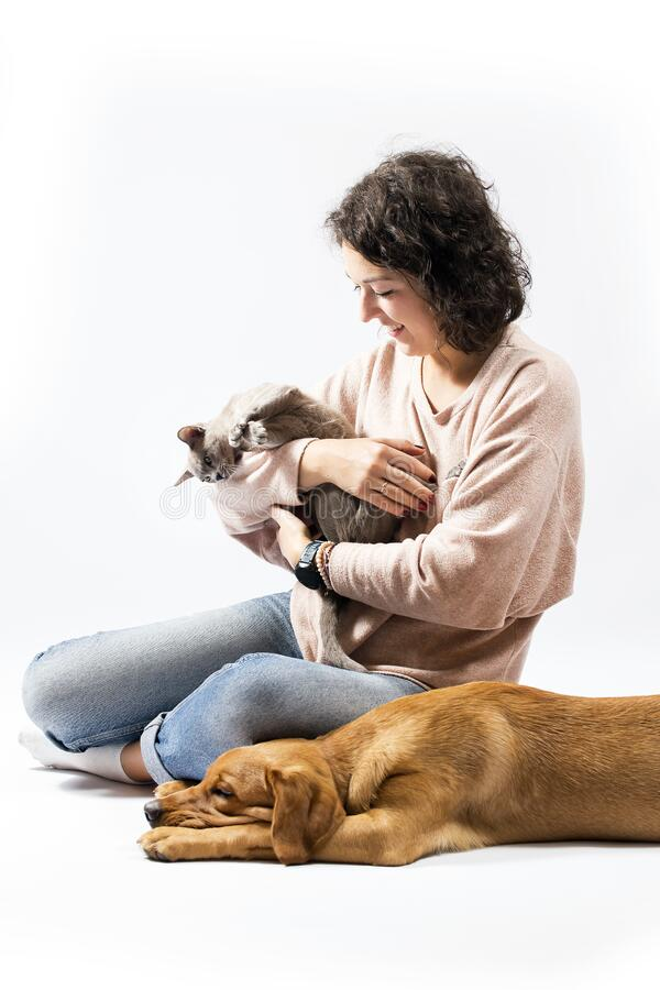 Portrait of young woman, red fox labrador retriever and burma cat on white background. Happy three friends stock photos