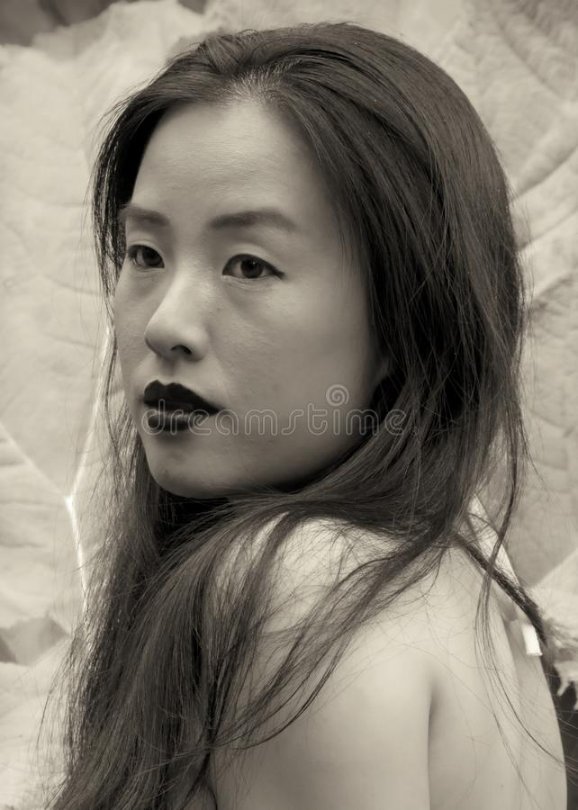 Portrait of young woman in sepia tinted photograph royalty free stock photography