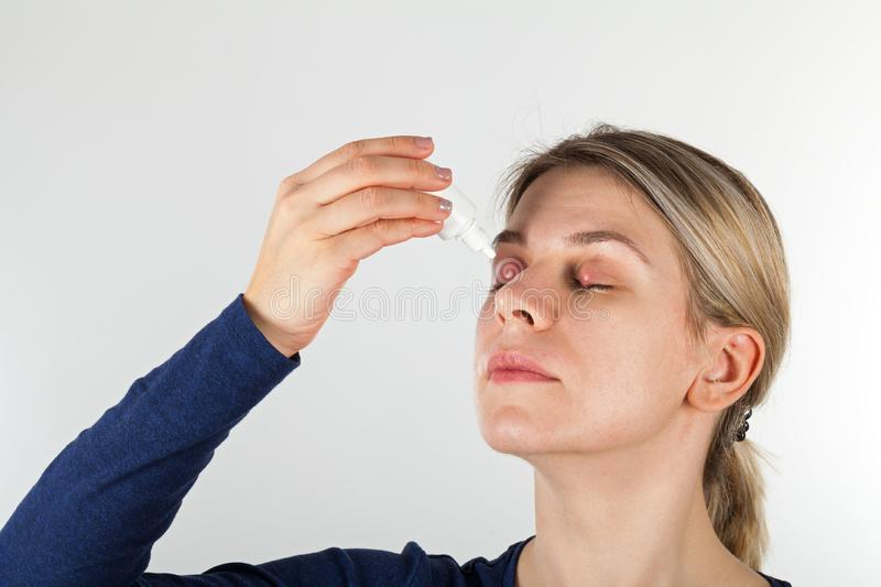 Woman with severe eye infection stock photos