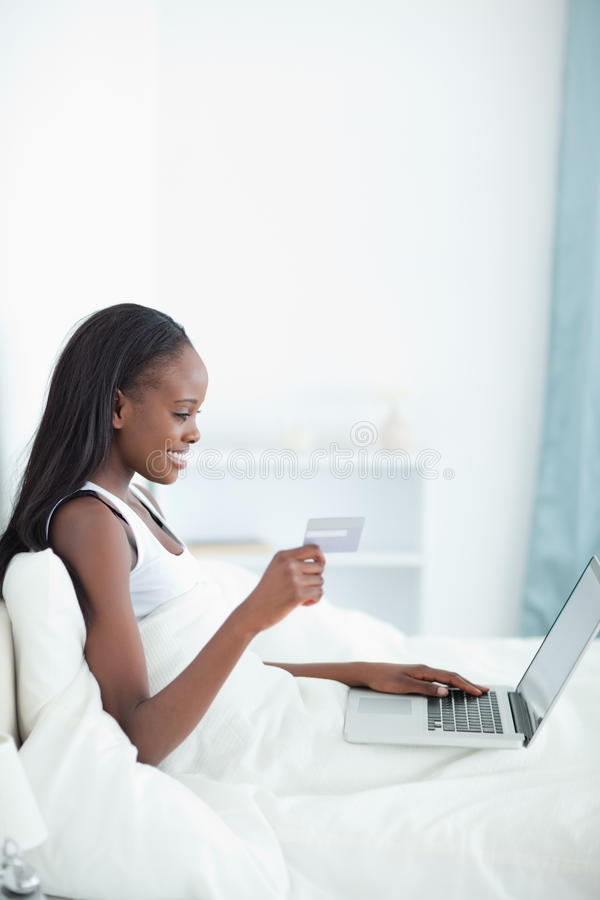 Download Portrait Of A Young Woman Shopping Online Stock Photo - Image: 22048648