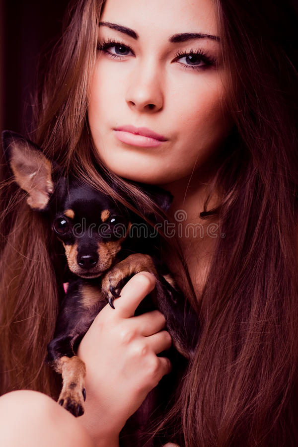 Portrait of young woman with small dog. Portrait of young woman holding dog in her hands stock images