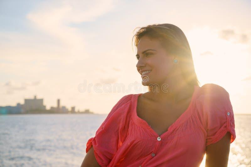 Portrait young woman smile happy sea beauty stock image