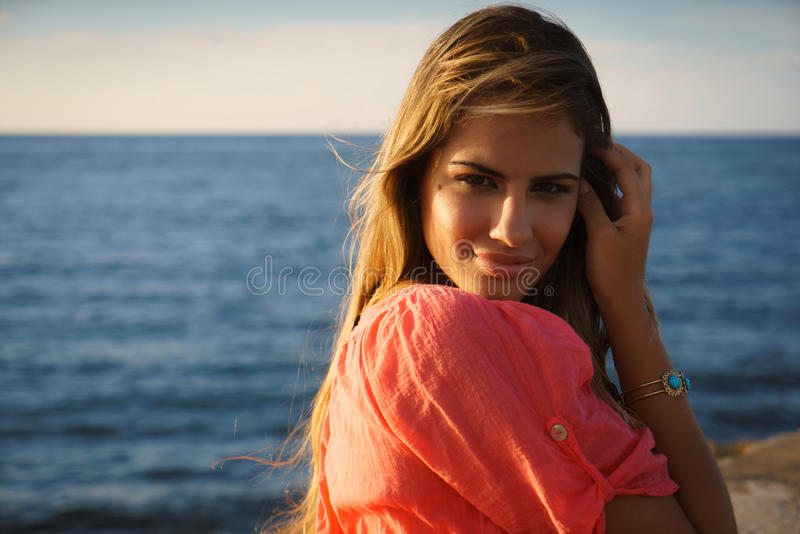 Portrait young woman smile happy sea beauty royalty free stock photo