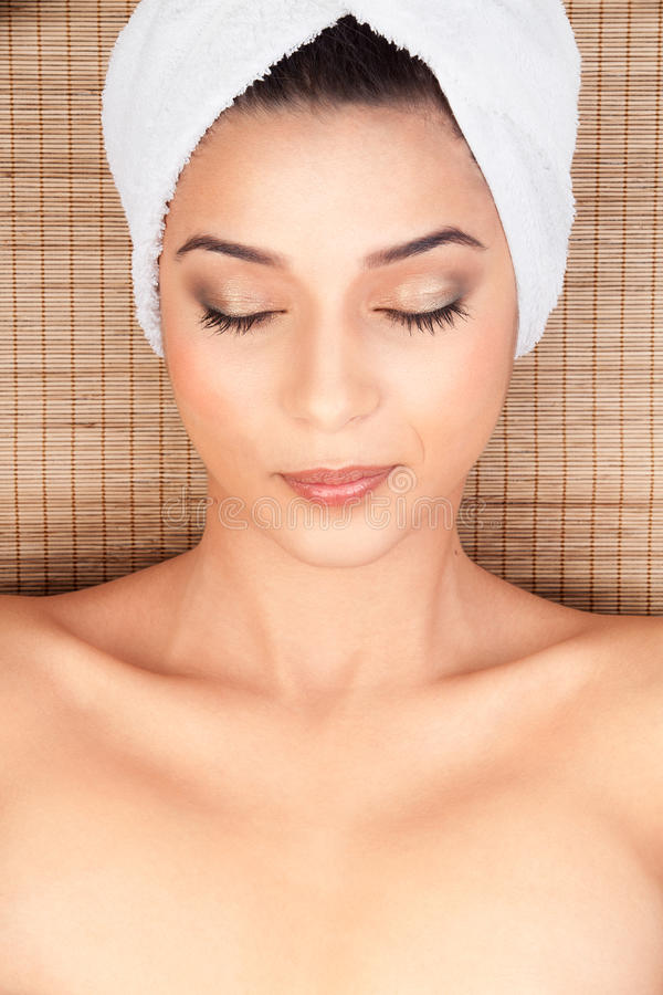 Portrait Of Young Woman At A Spa Stock Photography