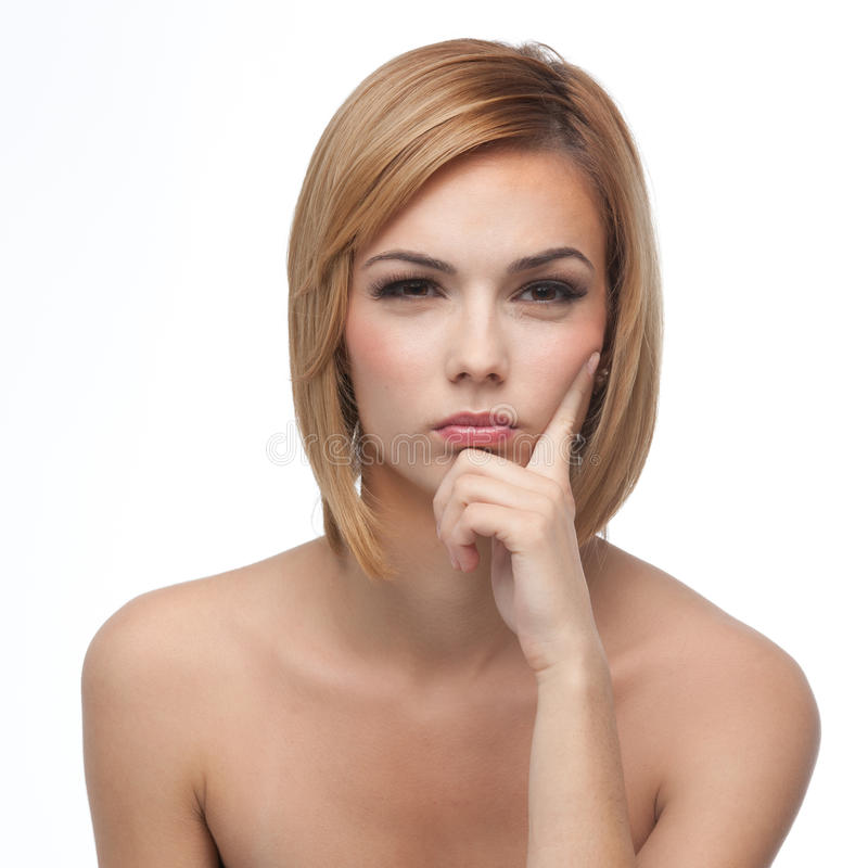 Portrait of a young woman, thinking stock images