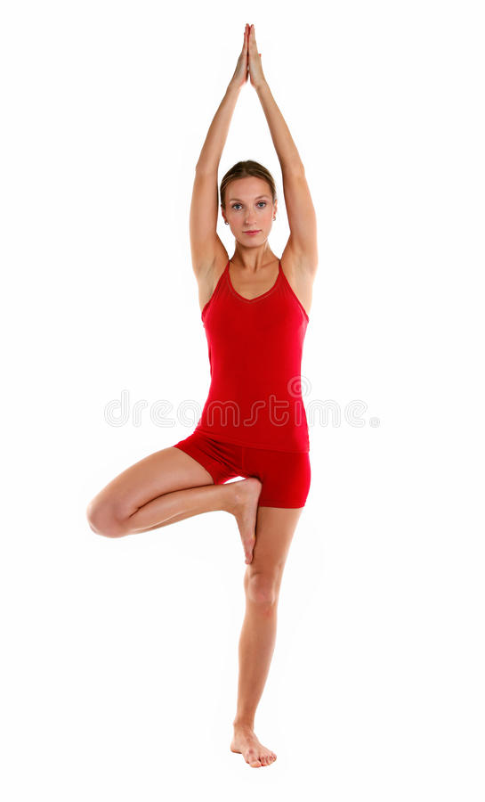 Download Portrait Of Young Woman In Tree Position Royalty Free Stock Photo - Image: 24968155