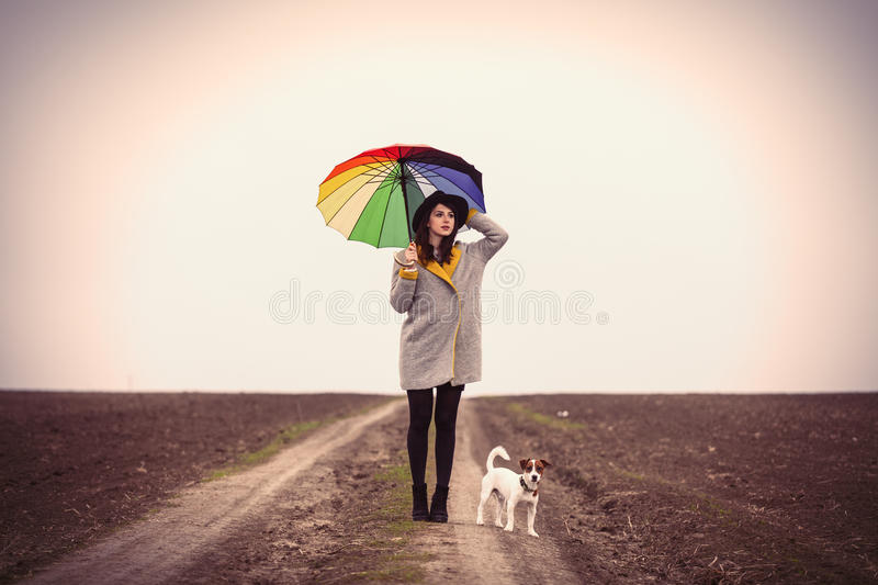 Portrait of young woman with umbrella and dog stock photography