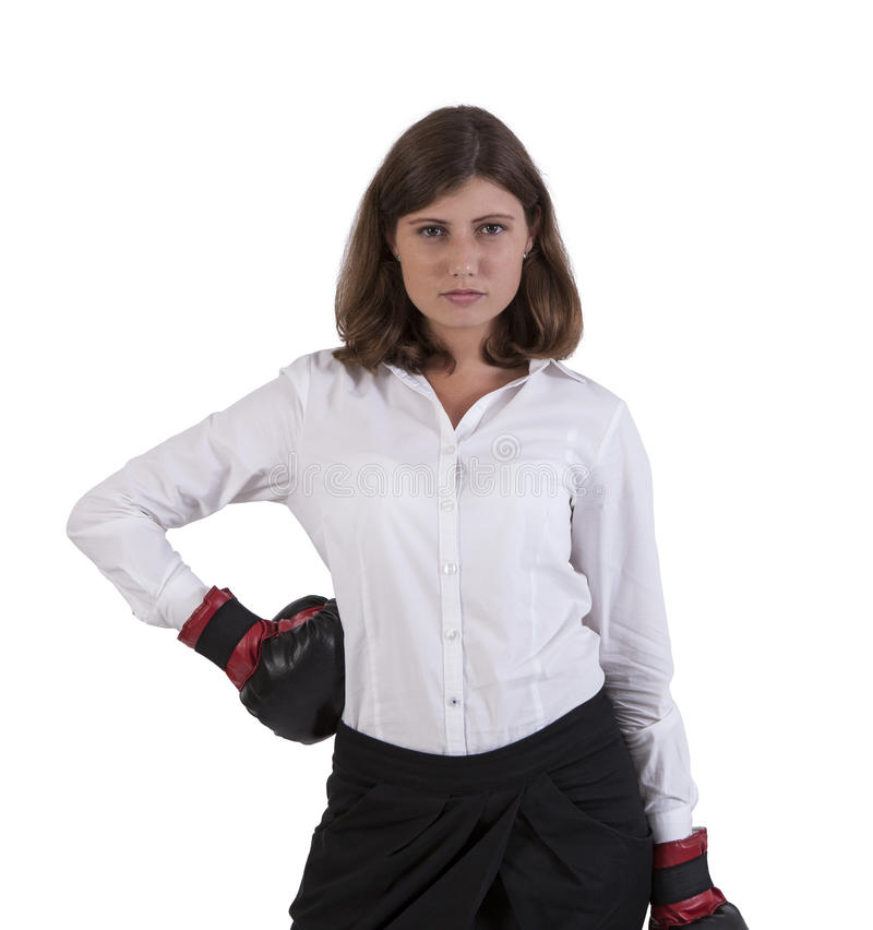 Portrait of a young woman wearing boxing gloves stock image