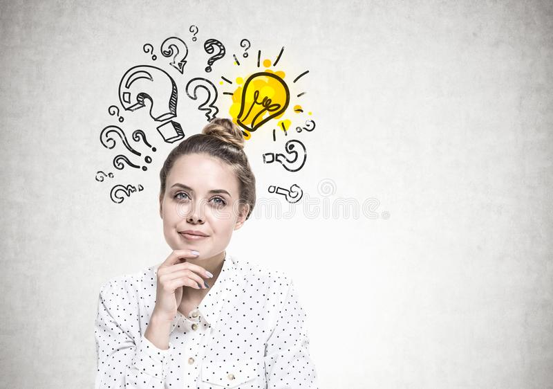 Smiling young woman dreaming, answer stock photo
