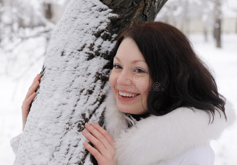 Portrait Of The Young Woman In White At A Tree Royalty Free Stock Photo