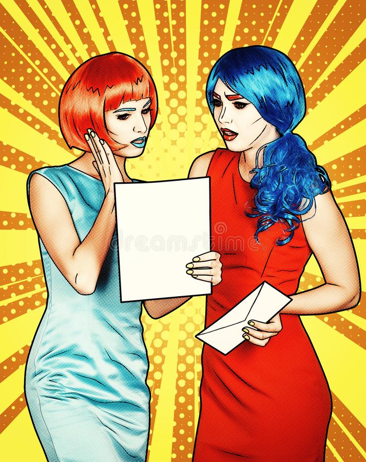Portrait of young women in comic pop art make-up style. Females are reading letter royalty free stock image