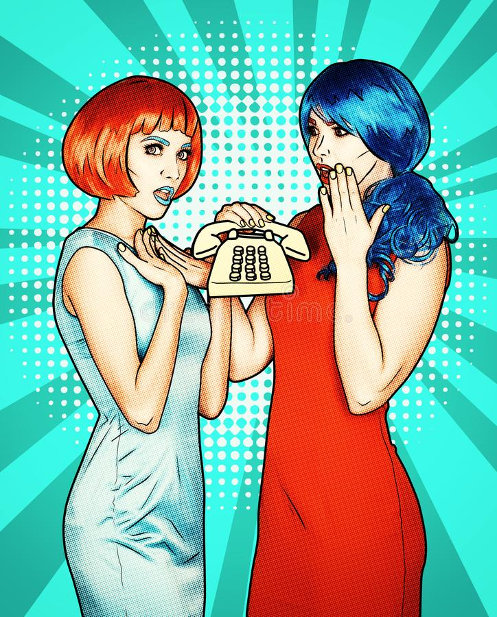 Portrait of young women in comic pop art make-up style. Females in red and blue wigs call on the phone royalty free stock photo