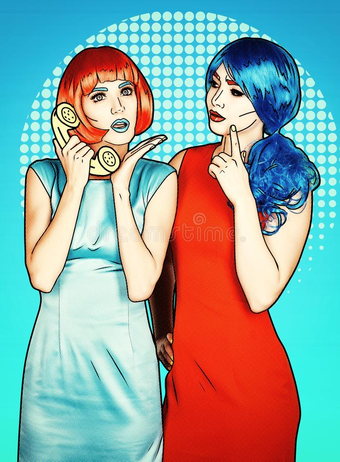 Portrait of young women in comic pop art make-up style. Females in red and blue wigs call on the phone vector illustration