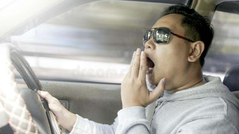 Sleepy Tired Male Driver royalty free stock photos