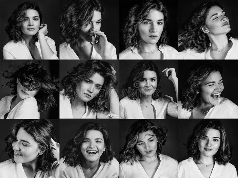 Portraites monochromes de jeune, belle actrice de femme avec les cheveux bruns courts montrant des émotions diggerent : bonheur,  photographie stock