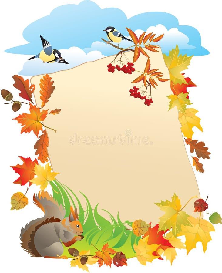 Portraitfeld mit Herbst-Blättern stock abbildung