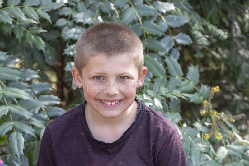 Portraitjunge draußen Glückliches Kind im Sommer stockbilder