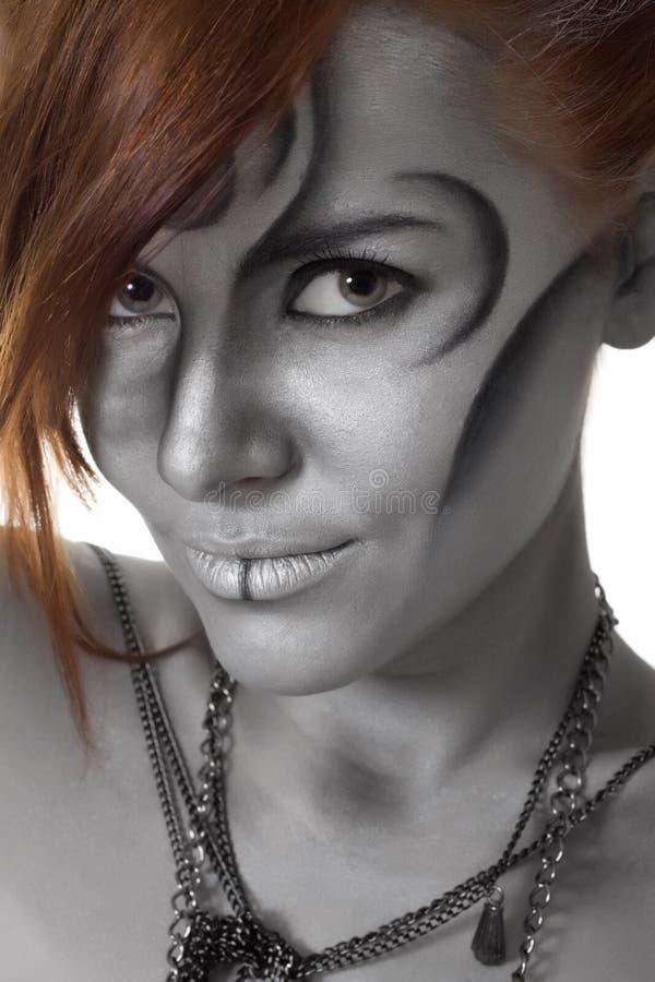 Portraitkarosserienkunst-Frauensilber getrennt stockbilder