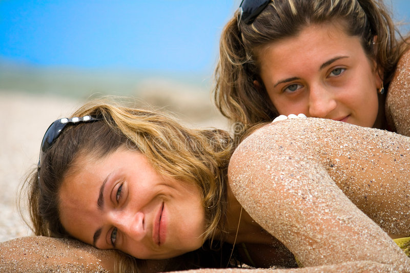 Portraits on a beach royalty free stock photography