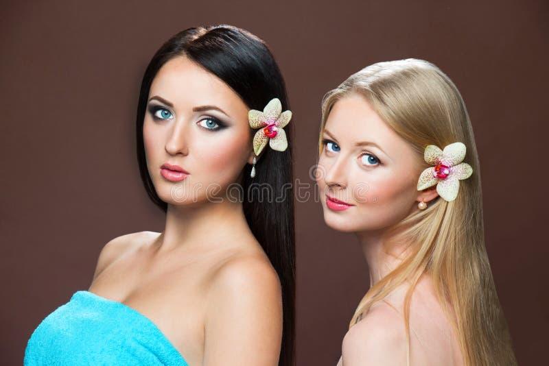 Portraits of beautiful white caucasian women royalty free stock photo
