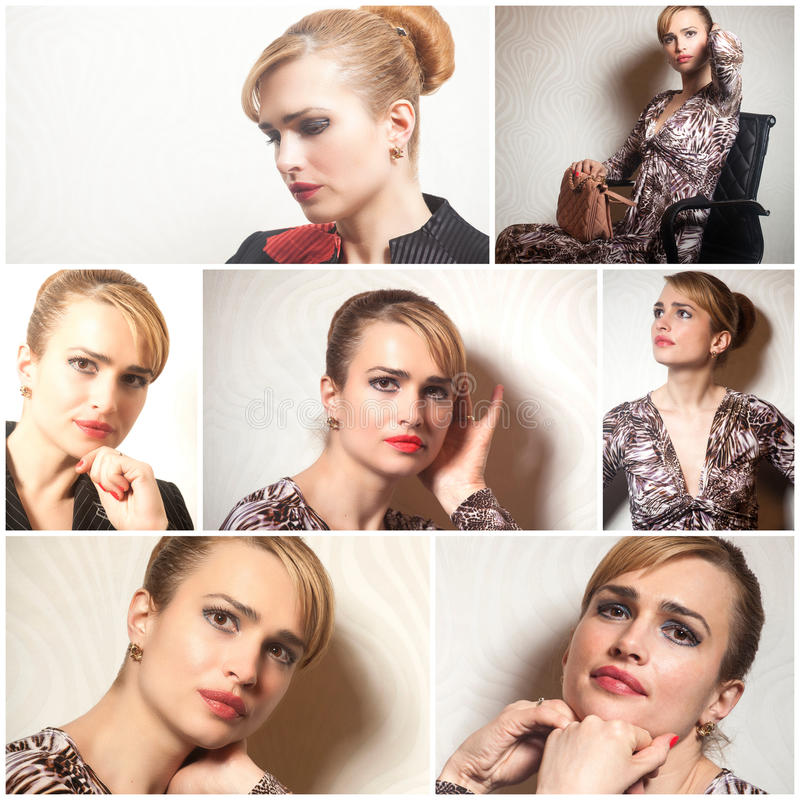 Portraits of beautiful young woman .Collage. stock photo
